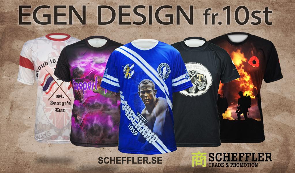Sublimeringstryckta T-shirts i egen design. 2-3 veckors leveranstid.